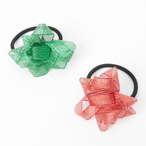 Red & Green Holiday Bow Hair Ties - 2 Pack,