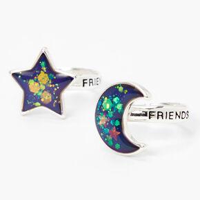 Bagues d'humeur lune et étoile best friends - Lot de 2,