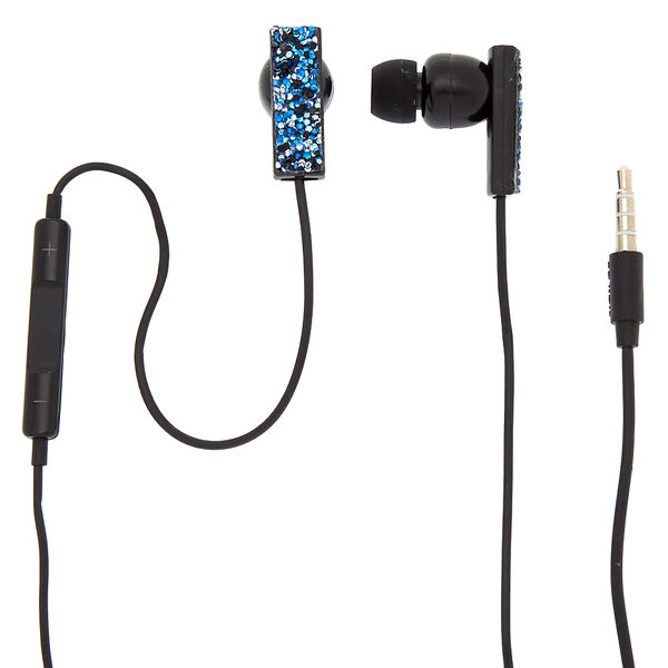 Claire's - midnight cake glitter earbuds with mic - 1