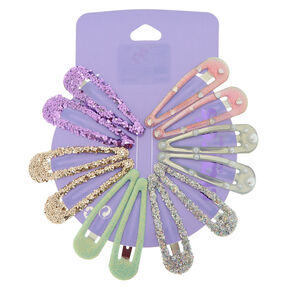 Pastel Pearl Glitter Hair Snap Clips - 12 Pack,
