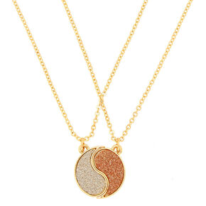 Gold Best Friends Yin Yang Glitter Pendant Necklaces - 2 Pack,