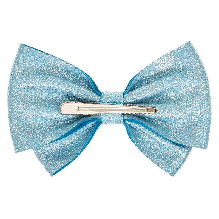Soft Glitter Hair Bow Clip - Baby Blue,