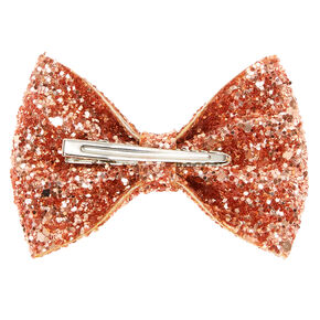 Glitter Mini Hair Bow Clip - Rose Gold,