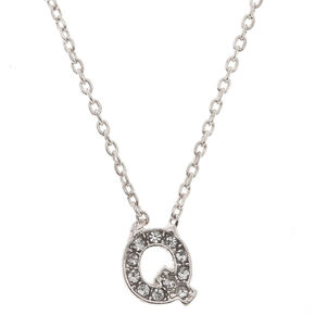 Silver Embellished Initial Pendant Necklace - Q,
