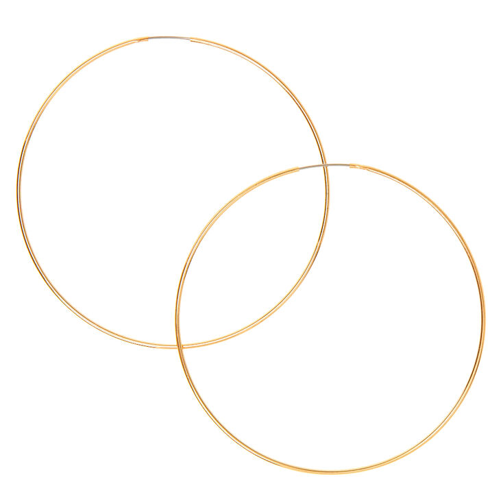Gold 60mm Wire Hoop Earrings Claire S