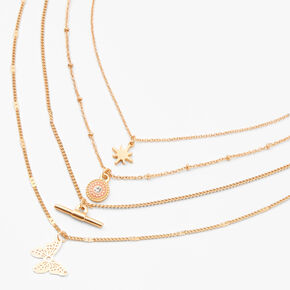 Gold Filigree Butterfly Multi Strand Necklace,