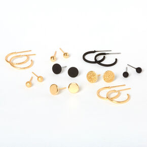 Gold & Black Disc Mixed Earrings - 9 Pack,