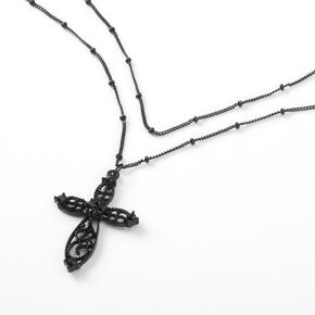 Collier multi-rangs croix en filigrane - Noir,