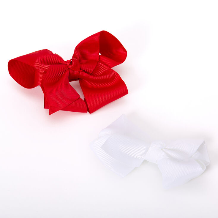 Claire's Club Ribbon Hair Bow Clips - Red, 2 Pack,