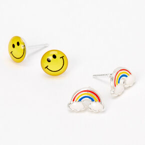 Sterling Silver Smiley Face Rainbow Stud Earrings - 2 Pack,