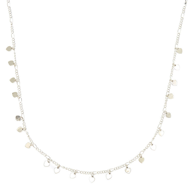 Silver Delicate Heart Charm Statement Necklace,