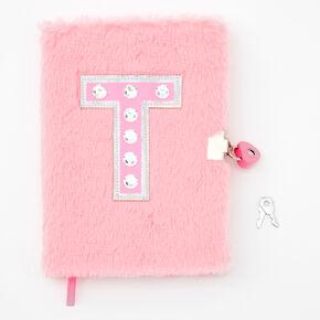 Giant Initial Furry Lock Diary - T,