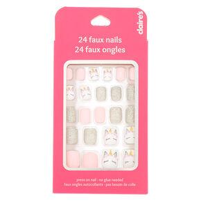 Unicorn Glitter Press On Faux Nail Set 24 Pack