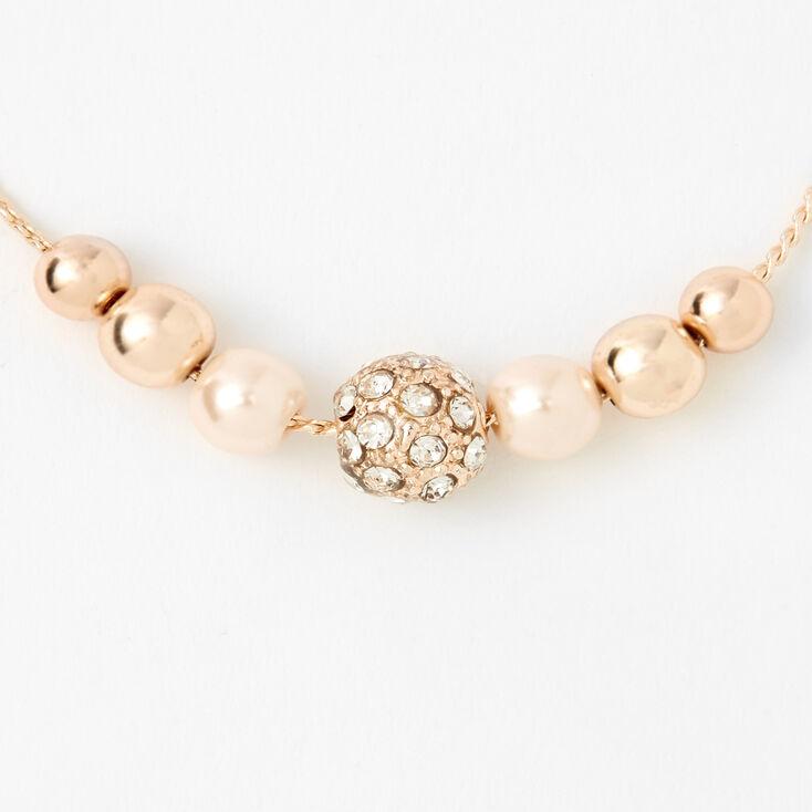 Rose Gold Crystal Fireball & Pearl Bolo Bracelet,