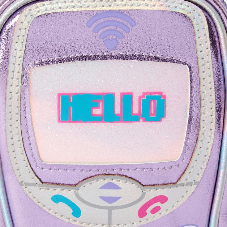 Pochette portable à bandoulière motif portable - Violet,