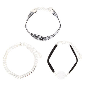 Southwest Chain Bracelets - Black, 3 Pack,