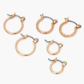 Gold Graduated Sleek Textured Hoop Earrings - 10MM, 12MM, 14MM,