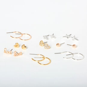 Mixed Metal Love Earring Set - 9 Pack,