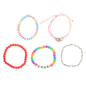 Rainbow Love Bracelets - 5 Pack,