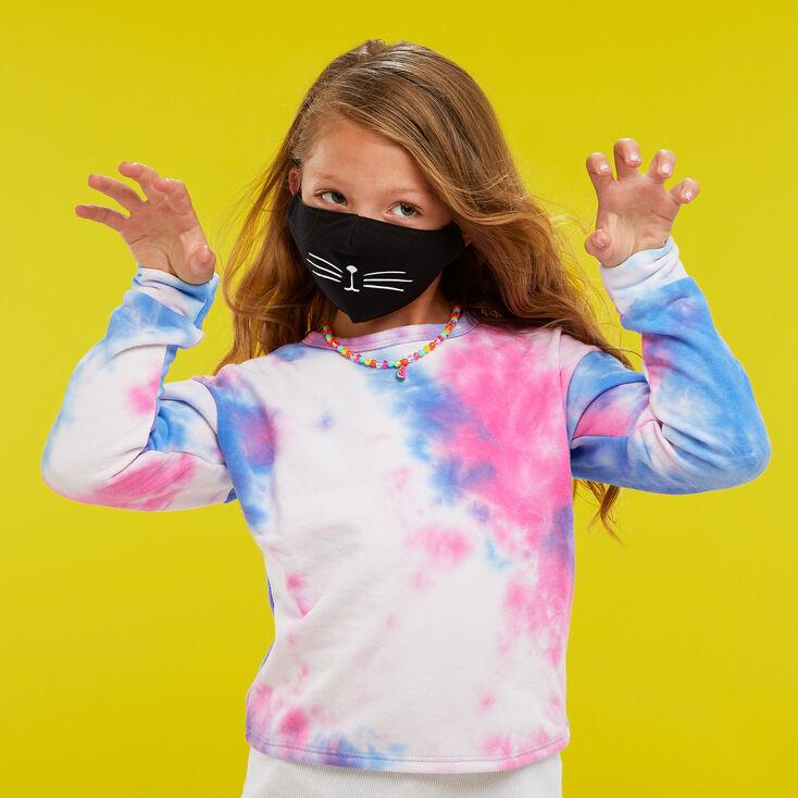 Cotton Black Cat Whisker Face Mask - Child Medium/Large,
