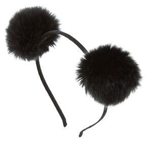 Pom Pom Ears Headband - Black,