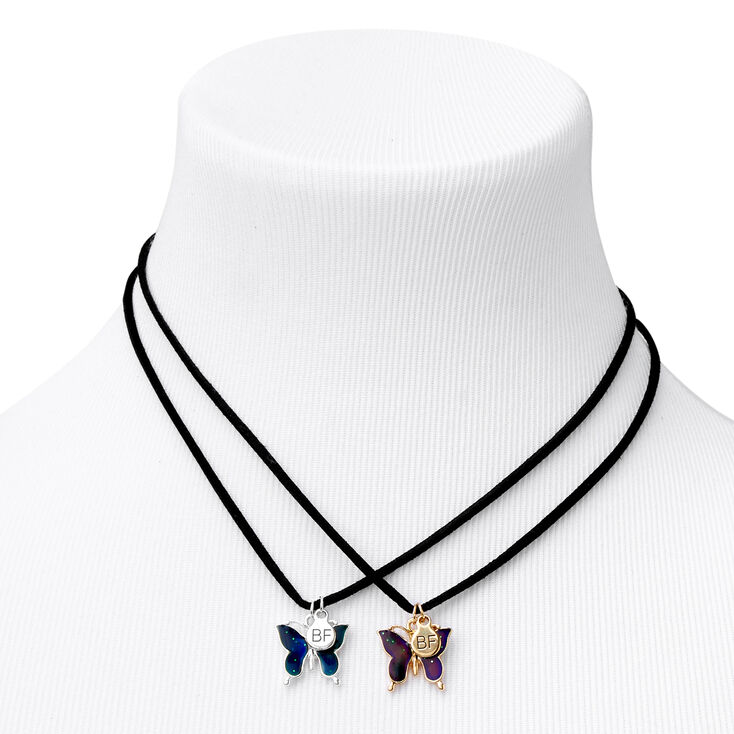 Best Friends Butterfly Mood Pendant Necklaces - 2 Pack,