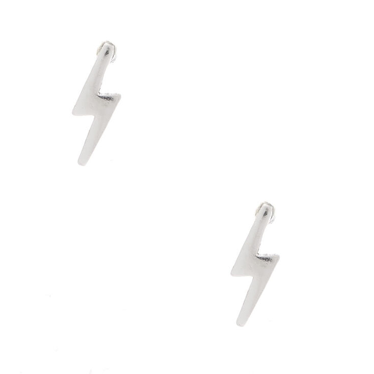 Sterling Silver Lighting Bolt Stud Earrings Claire S