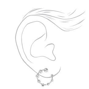 Silver Open Circle Embellished Stud Earrings,