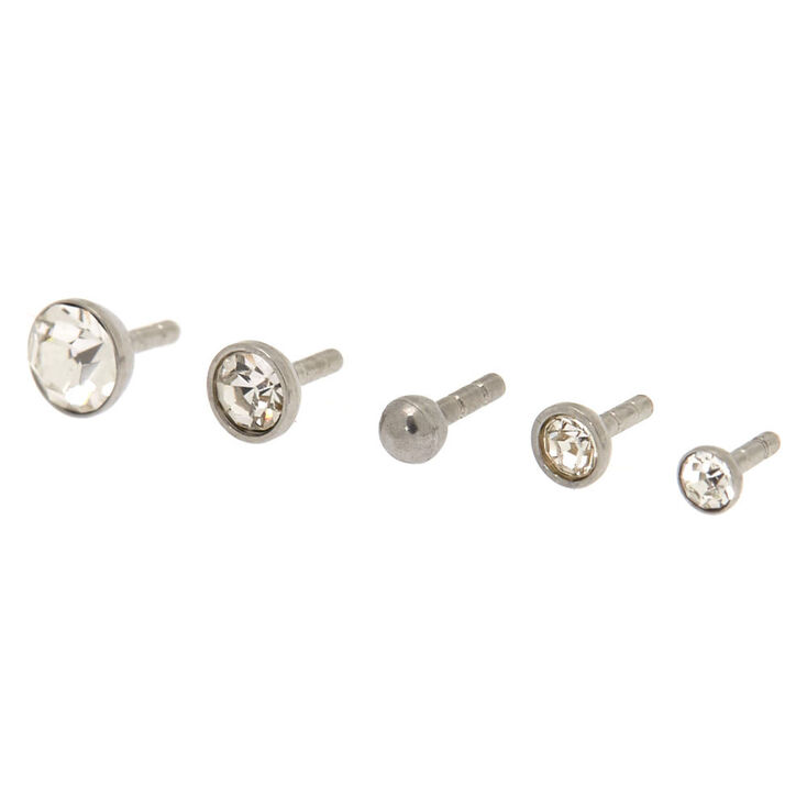 Silver 16G Multi Top Crystal Labret Studs - 5 Pack,