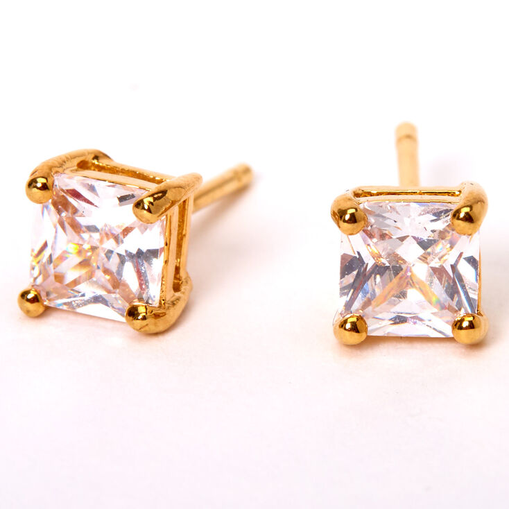 18kt Gold Plated Cubic Zirconia 5MM Square Stud Earrings,