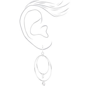 "Silver 2"" Cubic Zirconia Double Circle Drop Earrings,"
