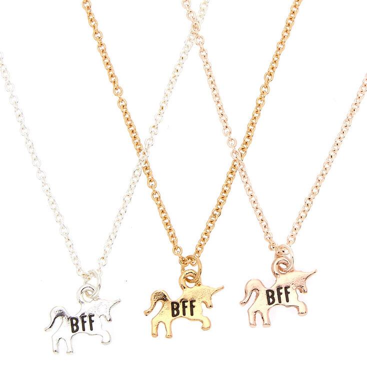 Best Friends Mixed Metal Unicorn Pendant Necklaces 3 Pack Claire S