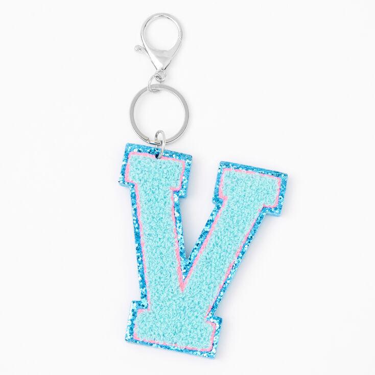 Blue Varsity Initial Keyring - V,
