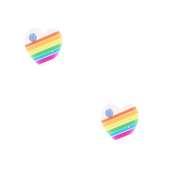 Sterling Silver Rainbow Heart Stud Earrings - White,