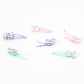 Claire's Club Pastel Glitter Bow Snap Hair Clips - 6 Pack,