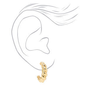Gold 20MM Croissant Twisted Hoop Earrings,