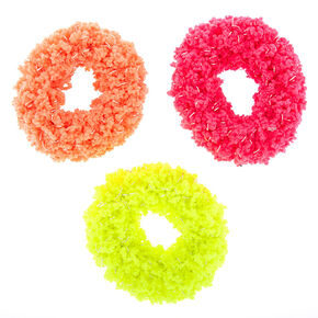 Small Neon Fuzzy Hair Scrunchies - 3 Pack,