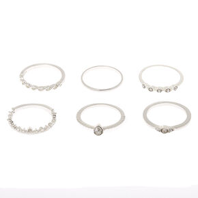 Silver Delicate Rings - 6 Pack,
