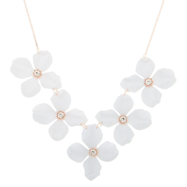 Rose Gold Floral Statement Necklace White Claires Us