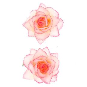 Glitter Flower Hair Clips - 2 Pack, Pink,