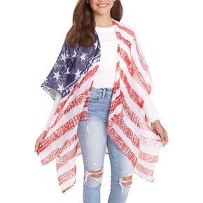Stars and Stripes Sheer Bandana Kimono,