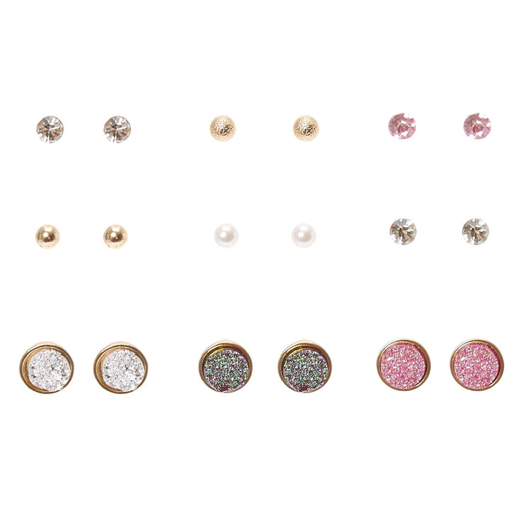 Iridescent druzy stone and ball stud earrings claire s us