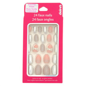Glitter Bow Stiletto Press On Faux Nail Set - Silver, 24 Pack,