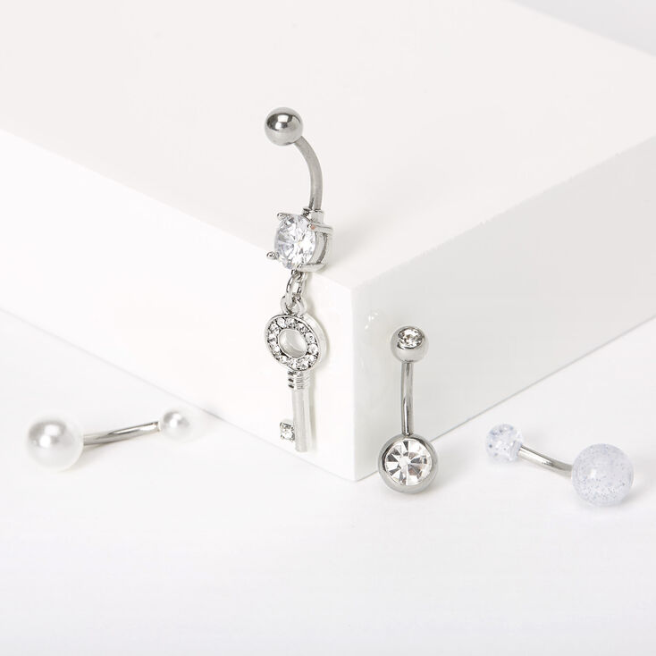 Silver 14G Embellished Key Pearl Belly Rings - 4 Pack,