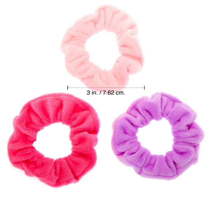 Claire's Club Small Velvet Hair Scrunchies - Pink, 3 Pack,