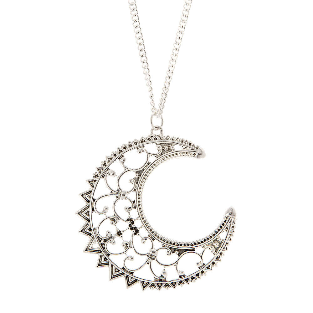 antique silver large filigree crescent moon pendant necklace Hello Kitty Hobbies antique silver large filigree crescent moon pendant necklace
