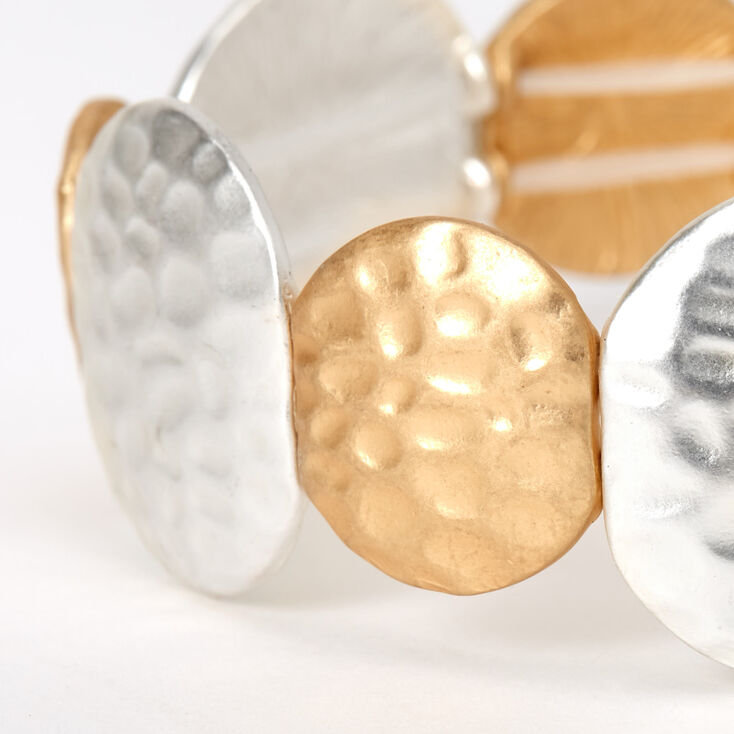 Gold & Silver Hammered Circles Stretch Bracelet,