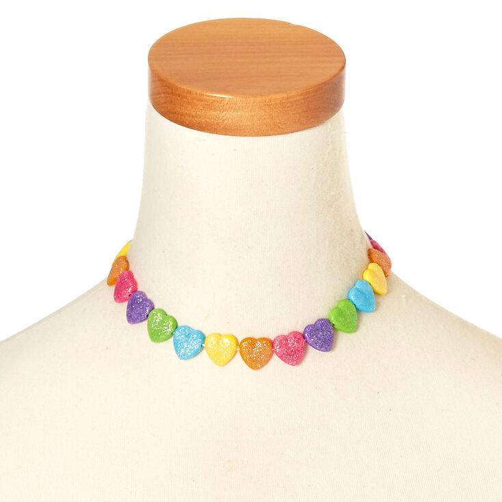 Parure de bijoux cœurs à paillettes arc-en-ciel pour enfants,