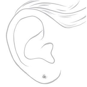 Sterling Silver Rose Stud Earrings - White,