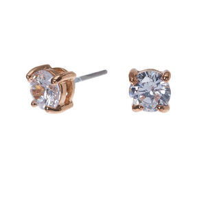 Rose Gold Cubic Zirconia Round Stud Earrings - 5MM,